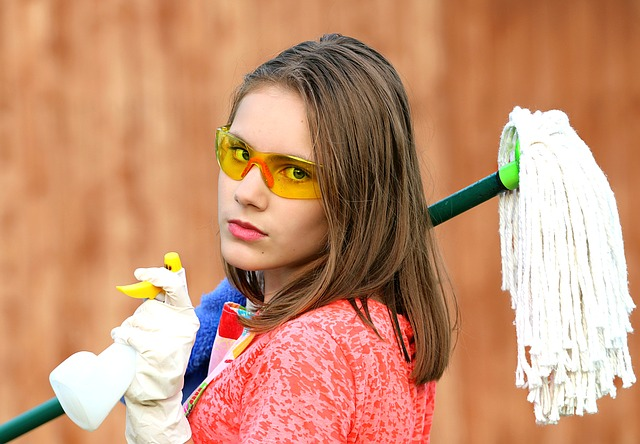 Girl Cleaning Mop